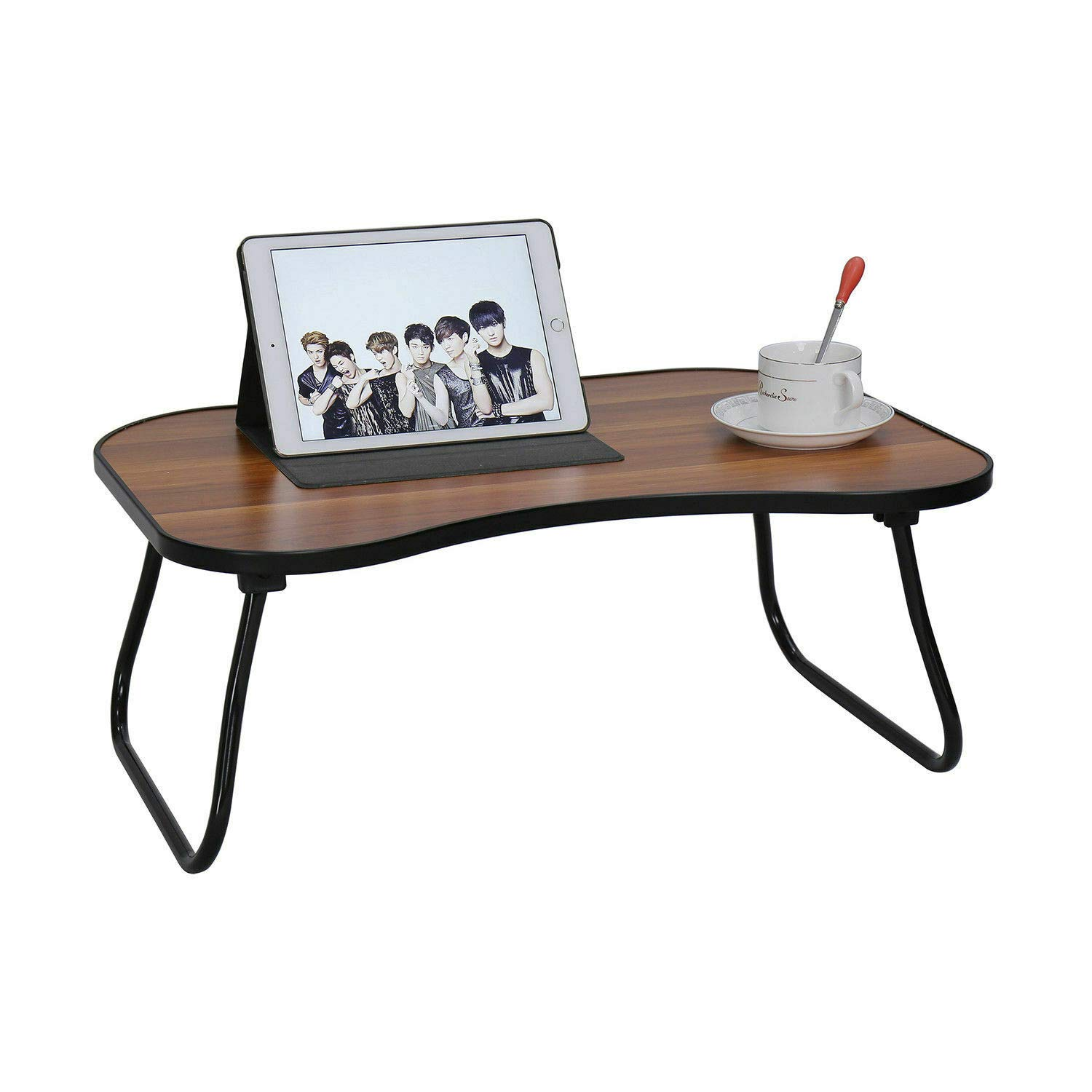 Folding Laptop Portable Standing Bed Desk Vertical Bed Table Portable Floor Breakfast Reading Tray Bracket Outdoor Camping Table lamp Mini Picnic Table