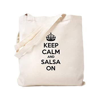 "CafePress - Bolsa de lona natural con texto en inglés""Keep Calm And Salsa On"""