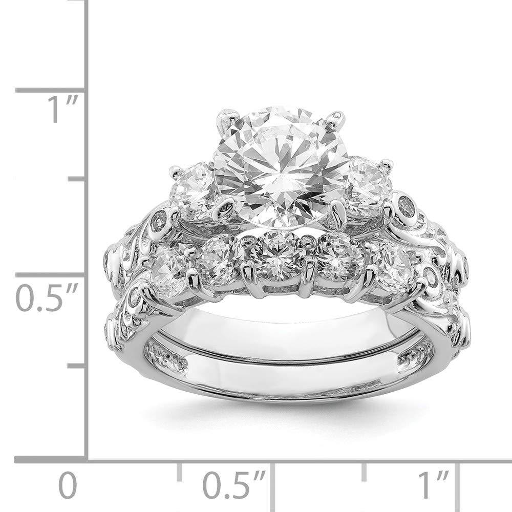 Amazon.com: Juego de 2 anillos de compromiso de plata de ley ...