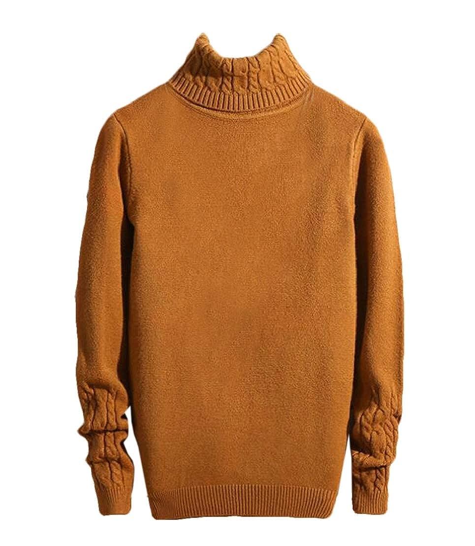 GRMO Men Plus Size Pullover Long Sleeve Turtel Neck Knit Sweater