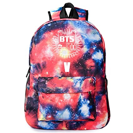 NUOFENG Kpop Canvas BTS Backpack Bangtan Boys Starry Sky Galaxy Satchel Schoolbag Casual Daypack Laptop Bags