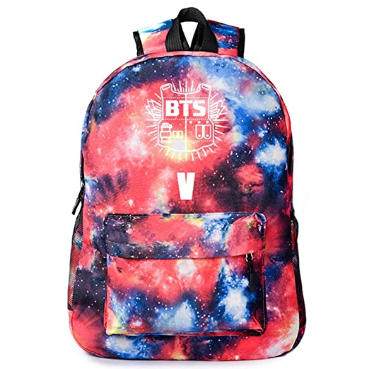 Amazon.com: NUOFENG Kpop Canvas BTS Backpack Bangtan Boys Starry Sky Galaxy Satchel Schoolbag Casual Daypack Laptop Bags (Red 1): Sports & Outdoors