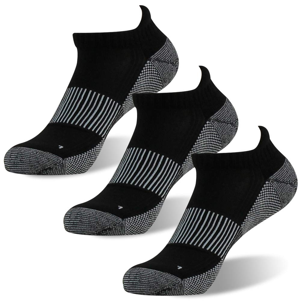 FOOTPLUS Men Women Boys Low Cut Moisture Wicking Antimicrobial Running Socks, 3 Pairs Black, Medium by FOOTPLUS