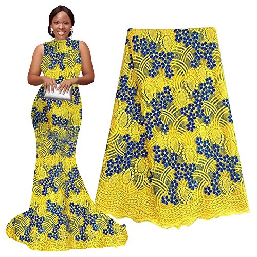 (pqdaysun 5 Yards African Net Lace Fabrics Nigerian French Fabric Embroidery and Rhinestones Guipure Cord Lace (yellow))