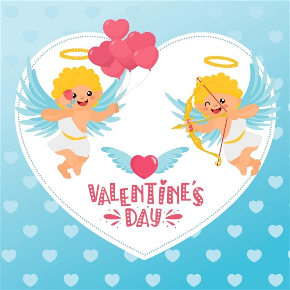 Laeacco 6.5x6.5ft Valentines Day Backdrop Vinyl Cartoon Cupids Arrow Cute Angels Red Heart Balloon Bunch Illustration Blue Background Lovers Couples Portrait Shoot Greeting Card Wallpaper Studio