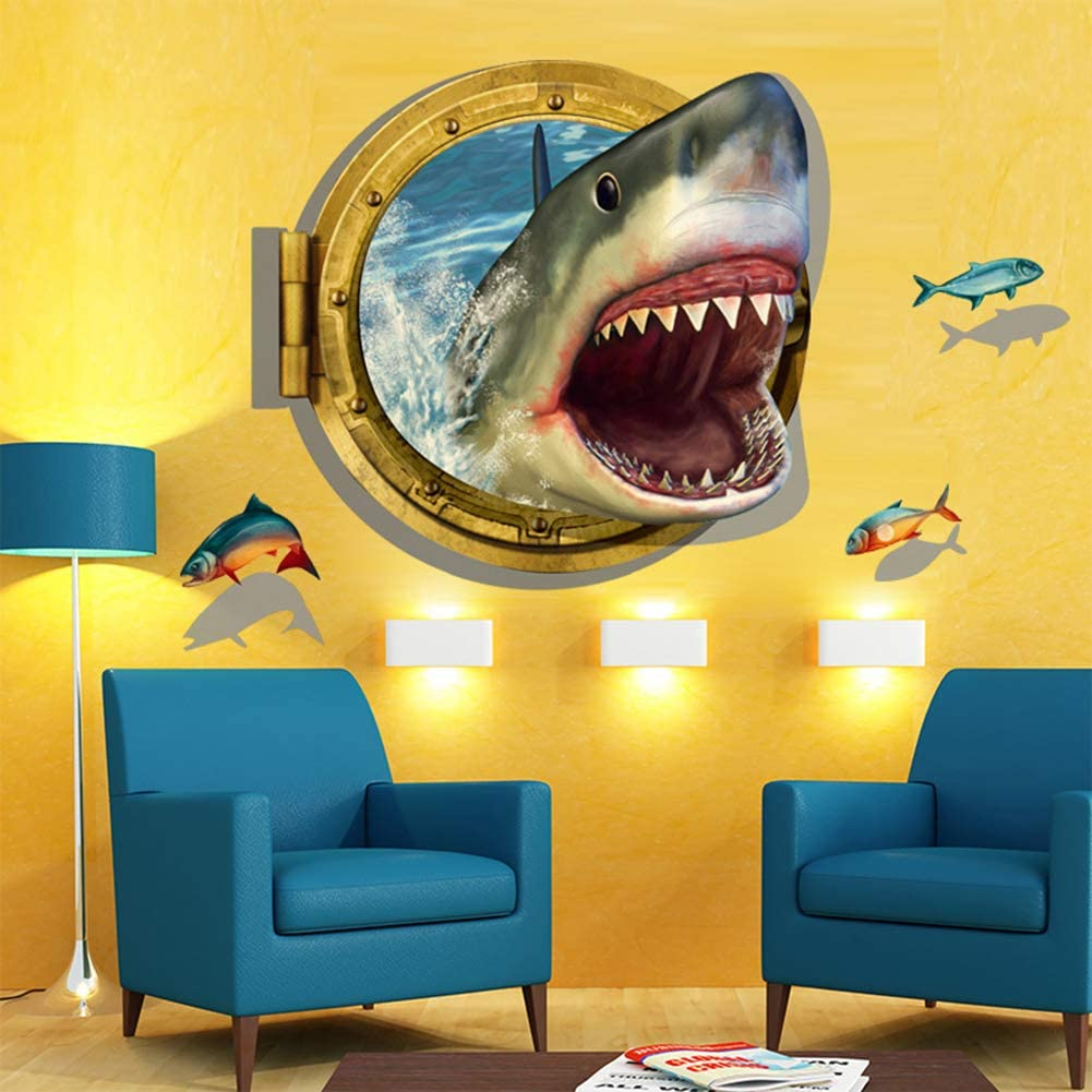 fublousRR5 Wall Sticker, 3D Removable Self-Adhesive Ocean Shark Porthole View Wall Sticker Decal Decor