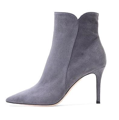 EDEFS Damen Stiefel,Kurzschaft Stiefeletten,Damen Ankle Boots,High Heels  Schuhe mit Reißverschluss a1620c4106
