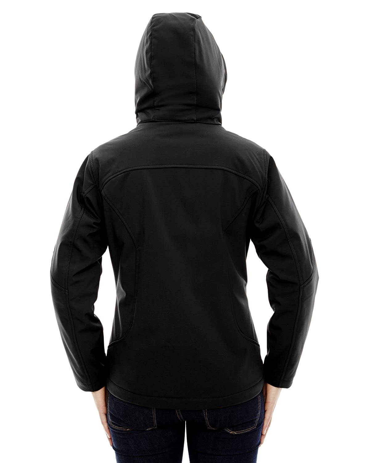 Black L North End Ladies Glacier Insulated Fleece Hood Jacket