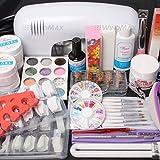 (US) ReNext 25 in 1 Combo Set Professional DIY UV Gel Nail Art Kit 9W Lamp Dryer Brush Buffer Tool Nail Tips Glue Acrylic Set #30