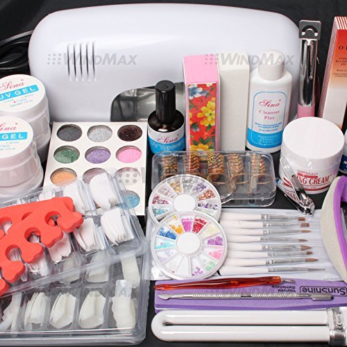 ReNext 25 in 1 Combo Set Professional DIY UV Gel Nail Art Kit 9W Lamp Dryer Brush Buffer Tool Nail Tips Glue Acrylic Set #30 (Professional Acrylic Kit)