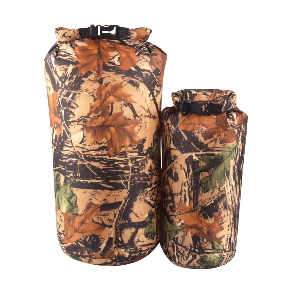 DeemoShop Outdoor 2 Pieces 15L & 8L Camo Waterproof Dry Sack Bag Travel Camping Climbing Hiking Kayak Canoe Inflatable Boat Accessory by DeemoShop