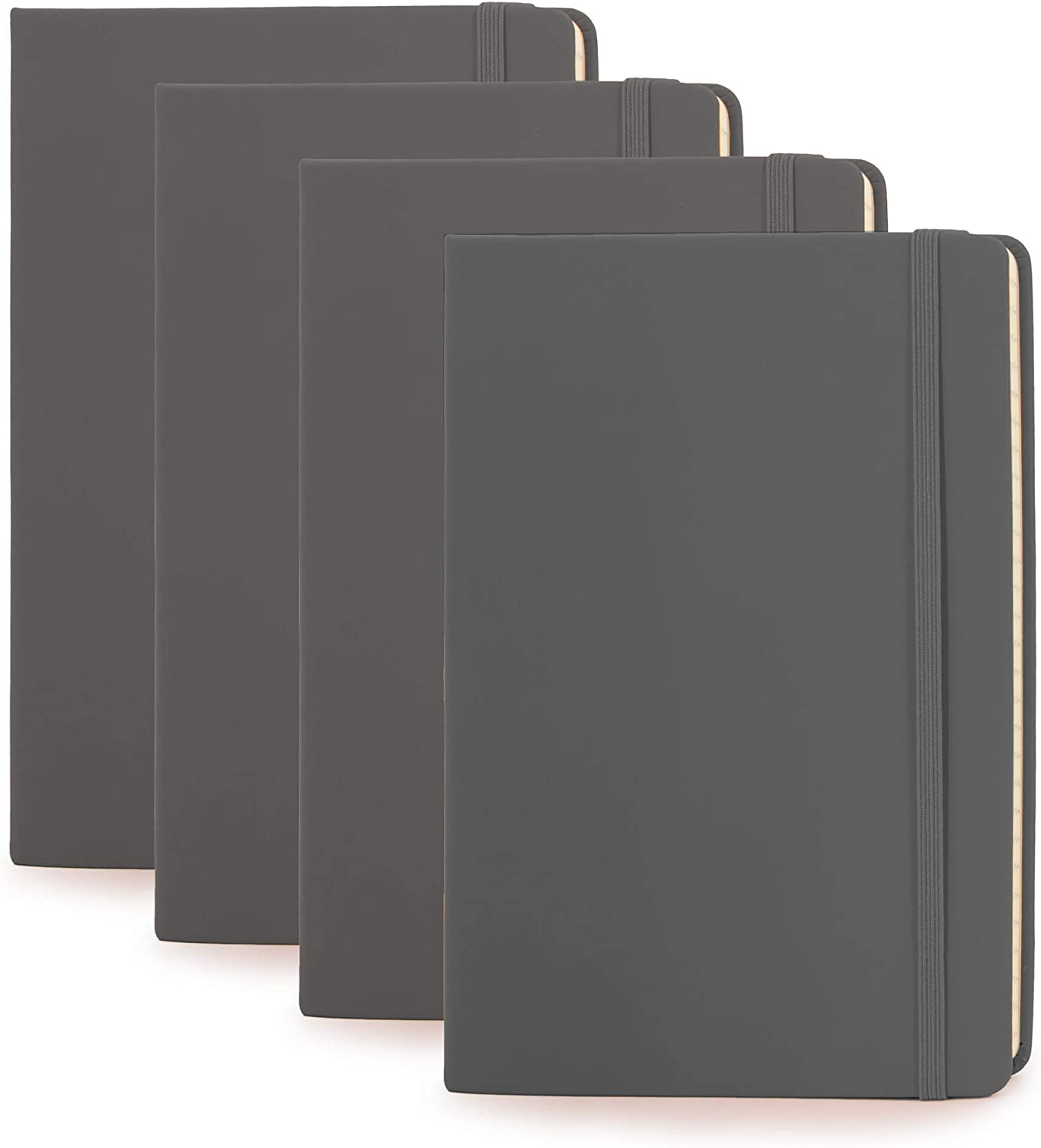 "Simply Genius (4 Pack) A5 Hardcover Leatherette Journals to Write in for Women, Faux Leather Journal for Men, Writing Journal Notebook Lined, 192pg Ruled, 5.7"" x 8.4"""
