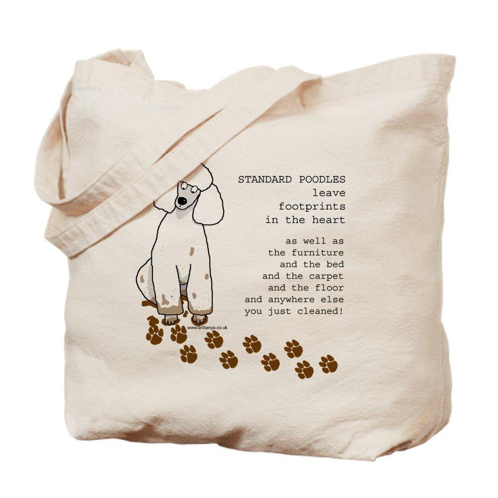 CafePress – footprints-poodle標準コピー – ナチュラルキャンバストートバッグ、布ショッピングバッグ M ベージュ 05621387626893C B073QT12QW MM