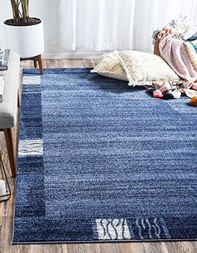 Unique Blue Border (Unique Loom Del Mar Collection Light Blue 5 x 8 Area Rug (5' x 8'))