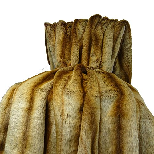 Faux Handmade Fur (Thomas Collection Chinchilla Faux Fur Throw Blanket & Bedspread - Chinchilla Faux Fur - Beige Tan Goldish Brown Chinchilla Fur Throw - Soft Fur, Handmade in USA, 16418)