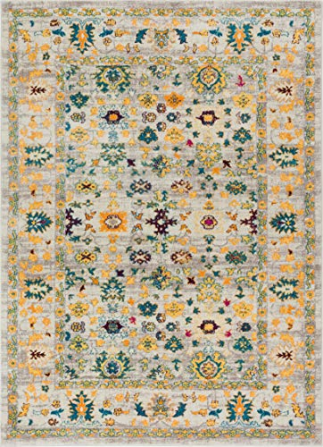 Acella Traditional Vintage Distressed Bright Floral Persian Yellow Beiges Blue Gold 5x7 (5'3