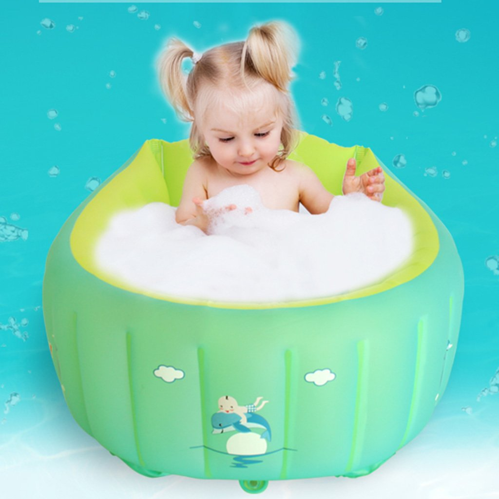 Inflatable bathtub baby inflatable bathtub green pvc material folding bath thickening warm home bath green bathtub non-slip bath soft skin non-toxic no smell (Size : XL)