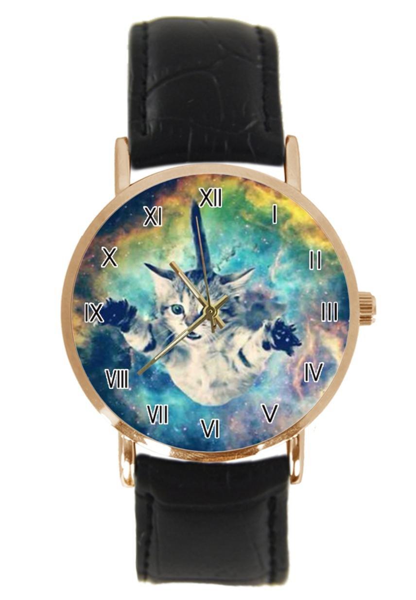 jkfgweeryhrt New Simple Fashion Galaxy Space Cat Steel Leather Analog Quartz Sport Wrist Watch