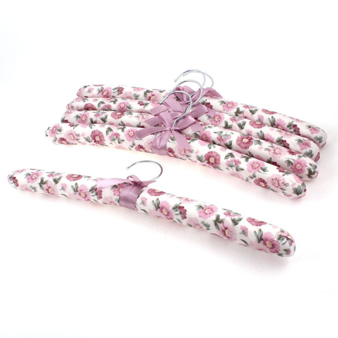 Flower Leaf Print Nylon Sponge Clothes Hangers 5pcs Light Burgundy DealMux