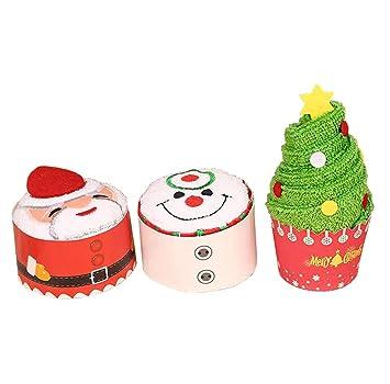 YUMU CASA Juego de 3 Piezas Toallas Pequeñas de Navidad Pañuelos para Niños Creativa Regalo para ...