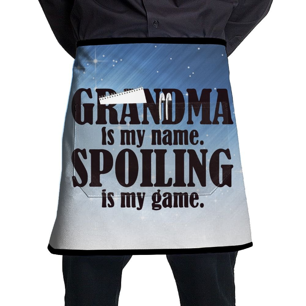 XiHuan Grill Aprons Kitchen Chef Bib Grandma Is My Name Spoiling Is My Game Professional For BBQ Baking Cooking For Men Women Pockets