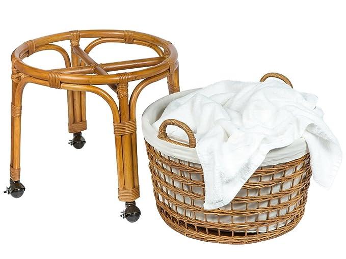 Amazon.com: kouboo 1030080 Rolling mimbre cesto para ropa ...
