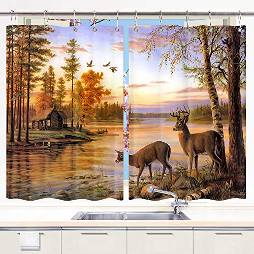 DYNH Elk Kitchen Curtain Animals Theme, Deer Safair in Stream River at Forest Sunset Window Curtain Panels, Waterproof Kitchen Curtains Drapes 10PCS Hooks 55X39 in Valance ()