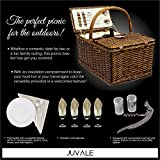 Delux Double Lid Classic Wicker Picnic Basket