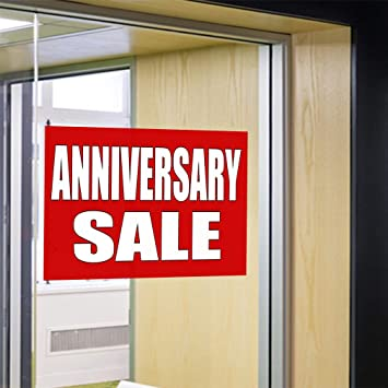 27inx18in Decal Sticker Multiple Sizes Anniversary Sale #1 Style B Business Anniversary Sale Outdoor Store Sign Yellow Set of 10