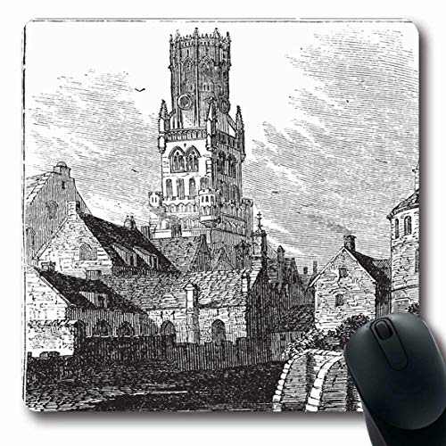 Ahawoso Mousepads for Computers Engraved Drawing Belfry Bruges Bellfort Belgium Vintage Tower Clip Antique Engraving Ancient Design Oblong Shape 7.9 x 9.5 Inches Non-Slip Oblong Gaming Mouse Pad ()