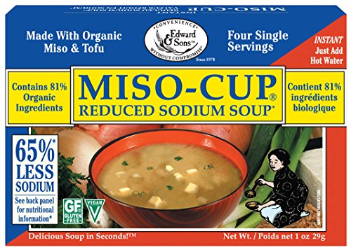 Edward & Sons Miso Cup Reduced Sodium Soup, Single Serve Envelopes, 4 Count Box (Pack of 12)