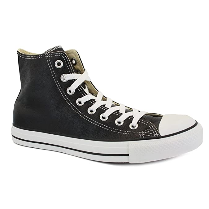 Converse All Star Leather 132170C Unisex Laced Leather Trainers Black White  9 Amazoncouk Shoes  Bags