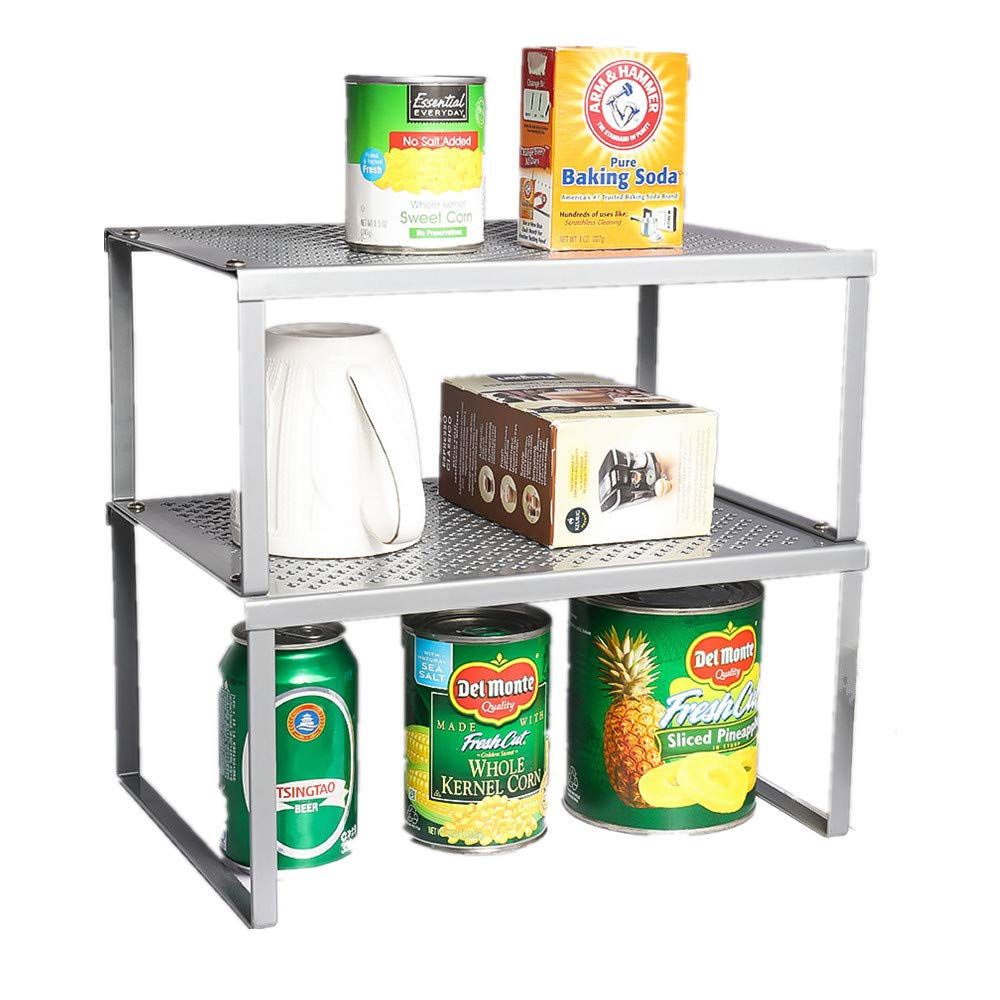NEX Juego de 2 Estantes de Cocina Armarios y Mostrador Organizador de Estanter/ías Apilable Expandible Astilla