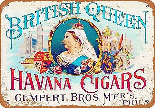 Havana Queen - Aubrey Hammond Metal Decoration Sign British Queen Havana Cigars - Vintage Decorative Tin Sign.Small Size 12 x 8 inches