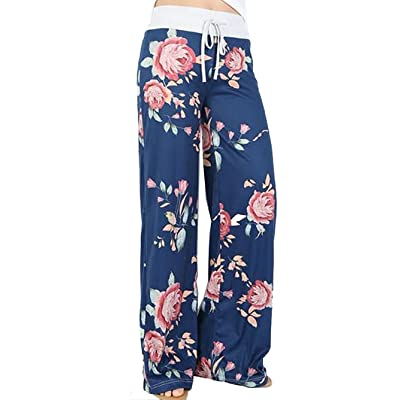 Wallvhion Women's Floral Print Comfy Stretch Drawstring Palazzo Wide Leg Lounge Pants at Women's Clothing store