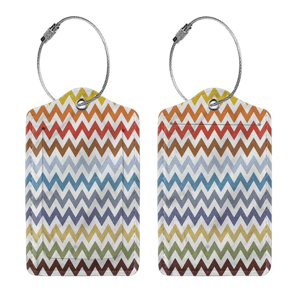 Luggage ID Tag 1,2 /& 4 Pack Full Back Privacy Cover Chevron Easter Chevron Zigzag Luggage Suitcase Tag