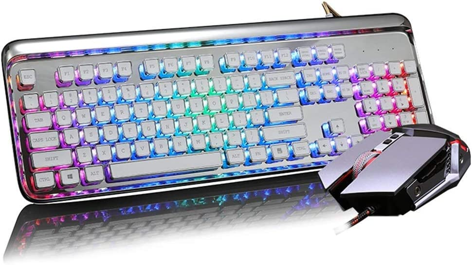 Macro Programming QTT Keyboard,Steam Mechanical Keyboard Mouse USB Wired Mix Backlight Mouse and Keyboard Chocolate Plating Keycap Metal Mouse Color : Black
