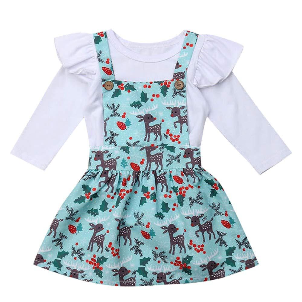 66f80d6b0 Christmas Baby Kids Girl Romper +Cartoon Deer Tutu Skirts Outfits Set  Outfit Christmas Children Horn Long Sleeve Jumpsuit + Straps Skirt Suit For  Children ...