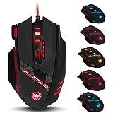 Zelotes Optische PC Gaming Maus Computer Maus mit 8 Tasten, 9200 DPI, Wired USB Anschluss-T90
