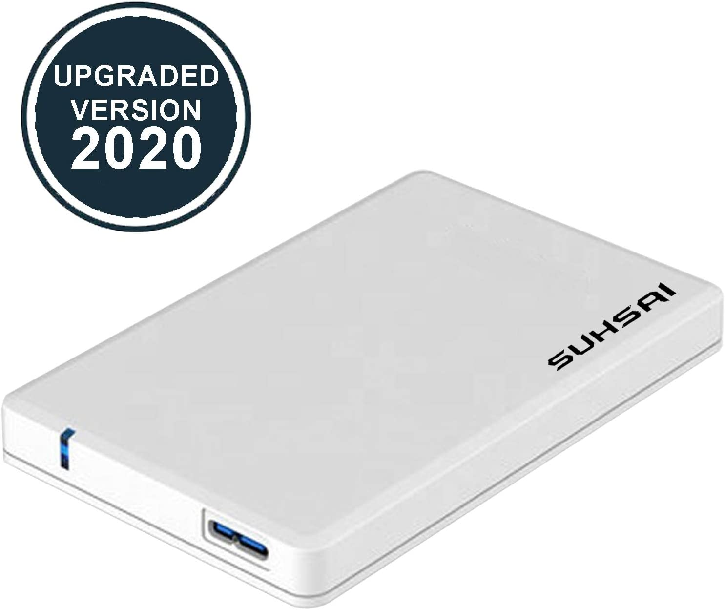 "Suhsai External Hard Drive HDD 2.5"" USB 3.0 Ultra Fast Slim Drive, Portable Hard Drive for Storage, Back up for PC, MAC, Desktop, Laptop, MacBook, Chromebook, Xbox, PS3, PS4, Smart Tv (500GB, White)"
