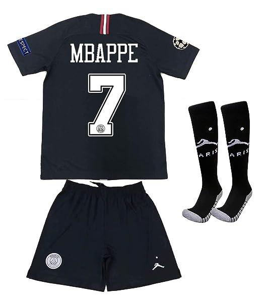 new product 53889 e97fc Saint George ii PSG X #7 Mbappe 2018/2019 New Away Youths/Kids Soccer  Jersey & Armbands & Shorts & Socks Black/White