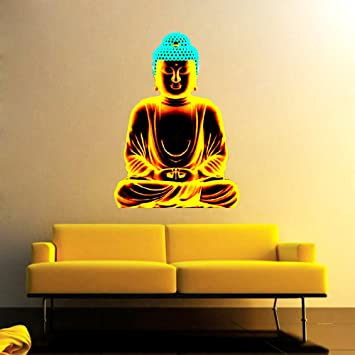 e69ec78dbee Buy Wall Sticker Lord Buddha Design (Cover Area  - 15 X 19 inch) Online at Low  Prices in India - Amazon.in