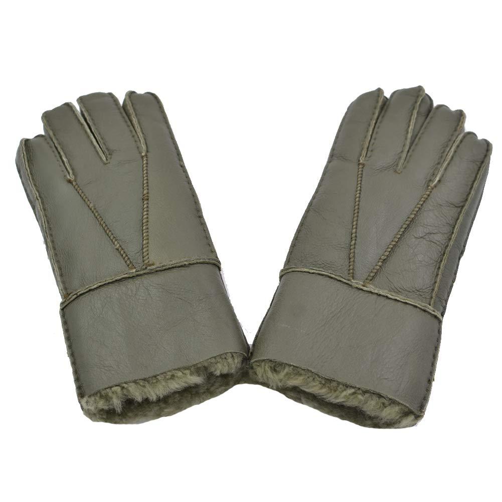 Sandy Ting Mens Winter Sheepskin Lambskin Leather Gloves Fur Lining