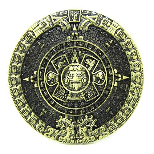 MASOP Round Bronze Mayan Relief Aztec Calendar Stone Belt Buckle Metal Alloy