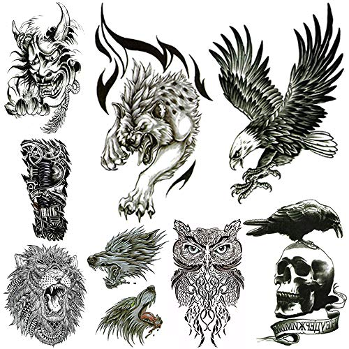 Large Temporary Tattoos for Men Body Stickers Fake Arm Chest Shoulder Leg Tattoo Cool Lion Eagle Owl Wolf Skull Waterproof Temp Tattoo Fashion Removable Tattoo Transfer Paper (8 Sheets)