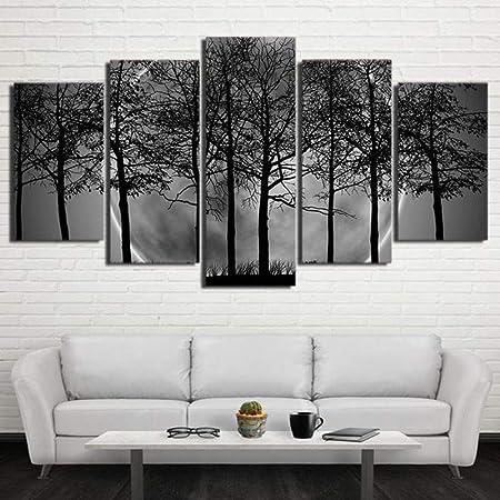 adgkitb canvas Moderne 5 Panneau Noir Blanc Gris ...