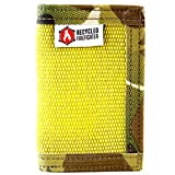 """Bifold Leather Money Clip Wallet – """"Decommissioned Fire Hose"""" - Recycled + Made in USA - Unique wallets for Men (Yellow&Multicam)"""