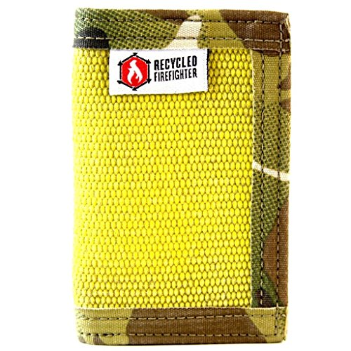 - Bifold Leather & Fire Hose Wallet, Mens Thin Front Pocket Wallet Multicam Yellow