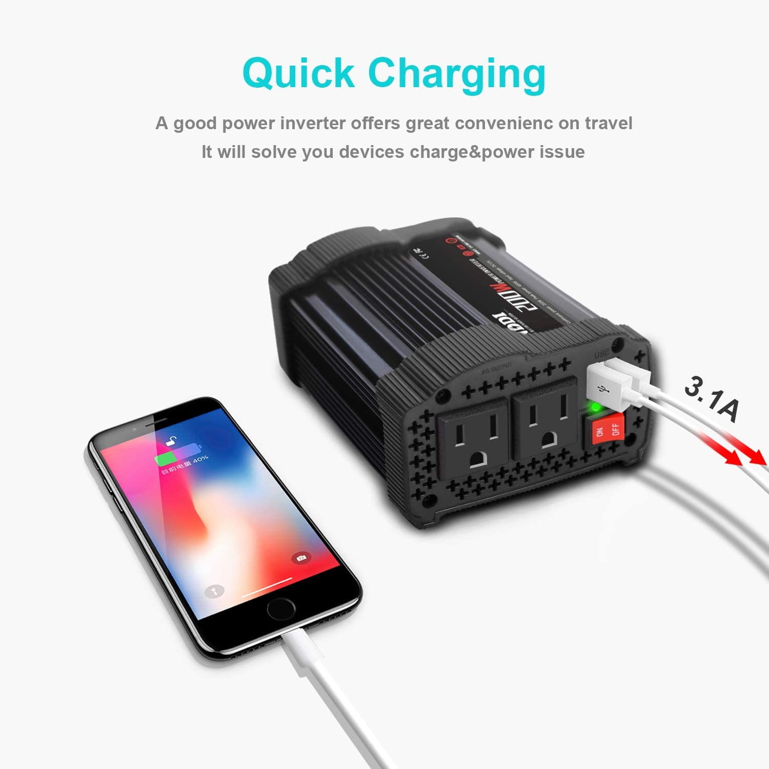 NDDI 200W Car Power Inverter 12V DC to 110V AC Converter with 3.1A Dual USB Quick Car Charger Adapter(Black): Car Electronics