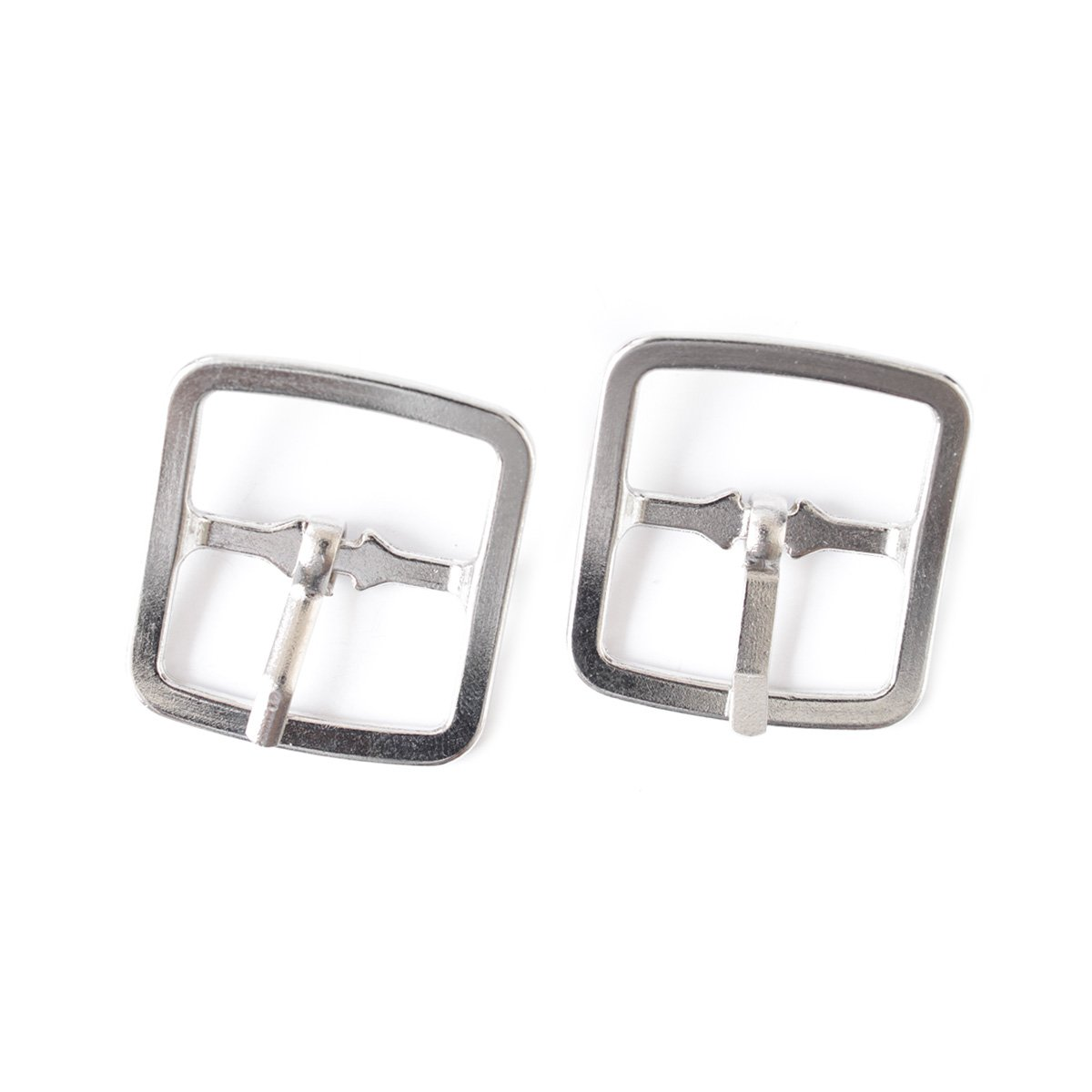 2 Pieces of 25mm Silver Roller Belt Square Buckles Metal For Art Sewing Craft Clothing Denim Shoes By Wedding Decor